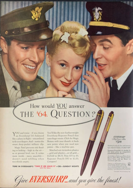 Vintage 1943 Eversharp Pens Pretty Woman W Uniform Men Print Ad Advertisement