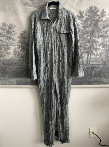 Mango Plaid Print Cotton Boiler Suit Jumpsuit Size S $49.99