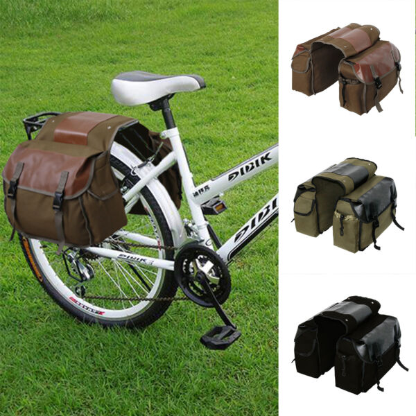 Bike Cycling Bicycles Mountain Rear Seat Rack Bag Double Panniers Travel Canvas $33.20