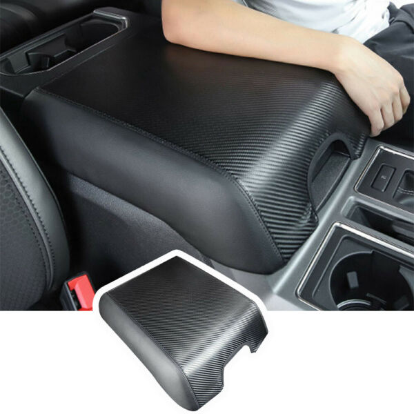 Carbon Fiber Armpad Center Console Armrest Cover for Ford F150 2015 2020 leather $13.60
