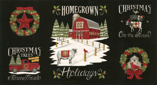 MODA Homegrown Holidays 100% cotton fabric Panel aprx 24 x 44 red truck black
