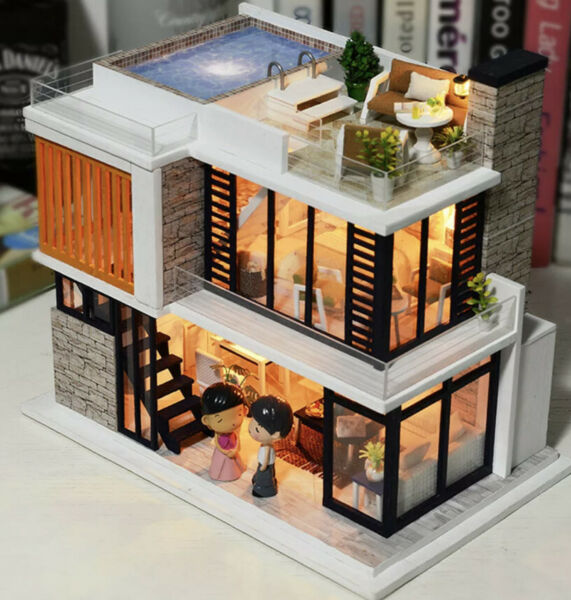 DIY Dolls House Kit Wooden Miniature with Furniture LED Lights Florence Town