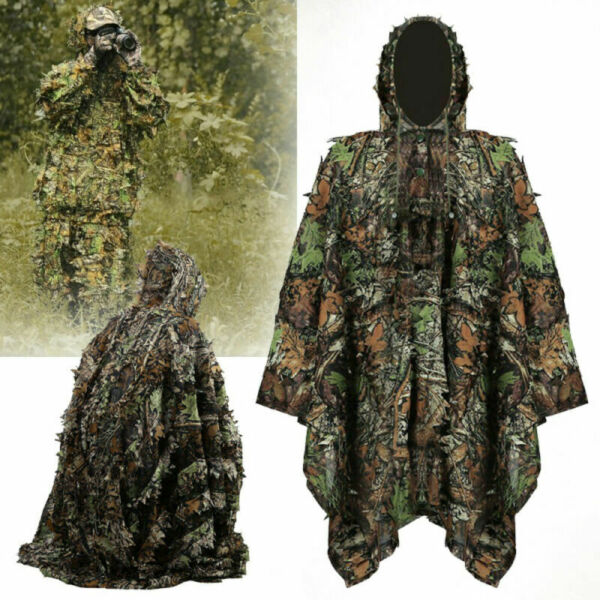 3D Leaves Camouflage Ghillie Leaves Poncho Stealth Cloak for Jungle Hunting US