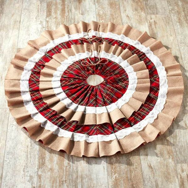 48quot; Ruffled Burlap Christmas Tree Skirt with Doily Cloth and Red Plaid Rings