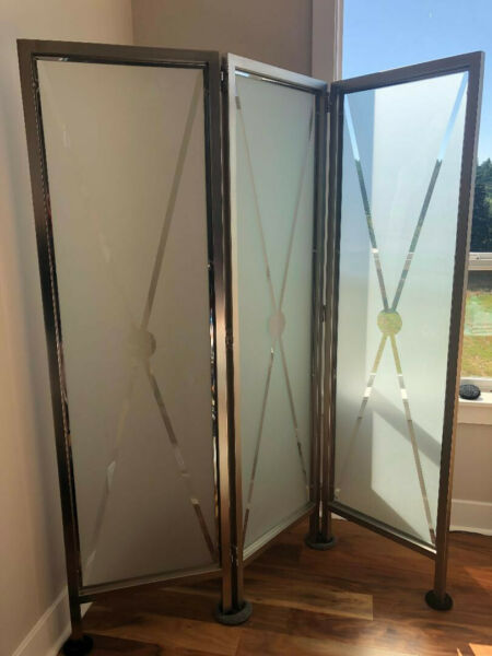 Beautiful Ethan Allen 3 panel Glass Screen from Radius collection. RARE $1600.00
