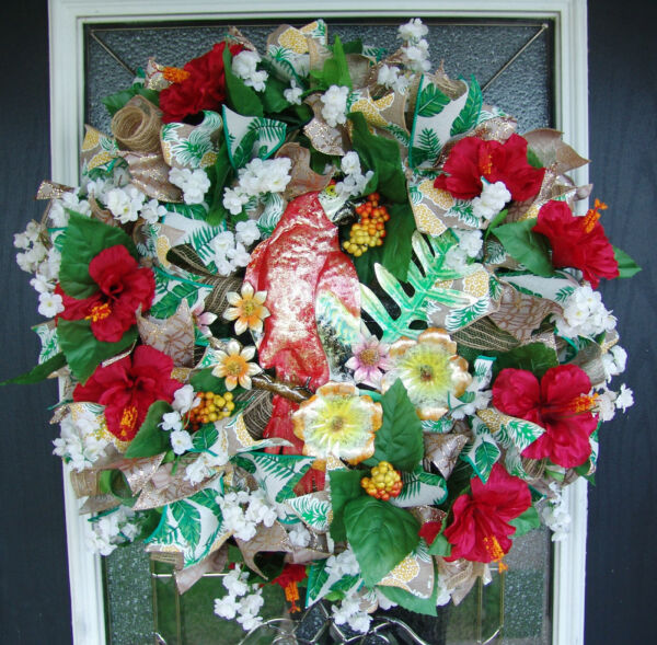 Tropical Parrot Summer Hawaiian Beach Deco Mesh Wreath Hibiscus Floral Decor