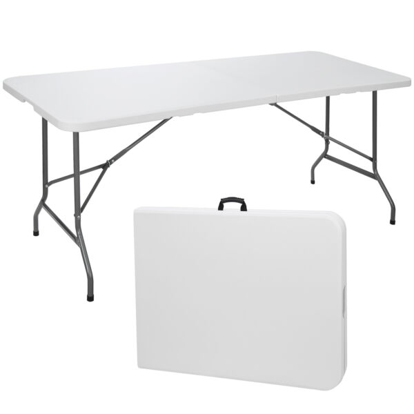6#x27; Portable Folding Table Plastic Indoor Outdoor Picnic Party Camp Dining White