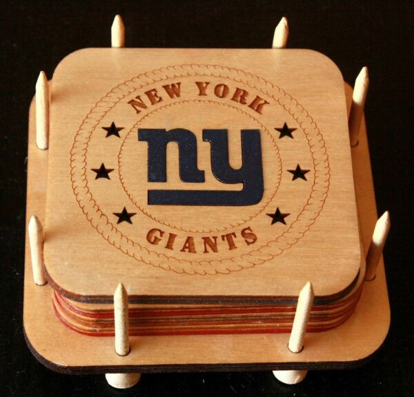 NY GIANTS COASTER SET 4 WITH HOLDER