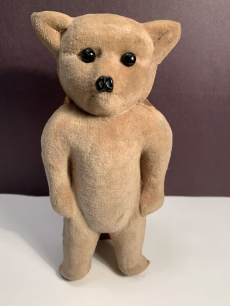 Vintage Standing Flocked Teddy Bear Gift Box 8 Inches Tall