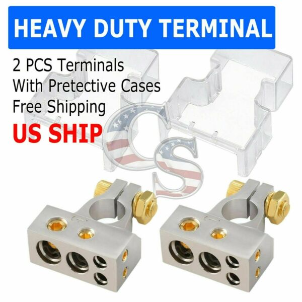 2 Car Battery Terminal Connector Top Post Positive Negative Heavy Duty Universal $11.99