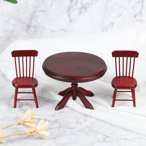 1:12 Dollhouse Mini Wooden Dining Table Chair Kitchen Furniture Doll House De b9