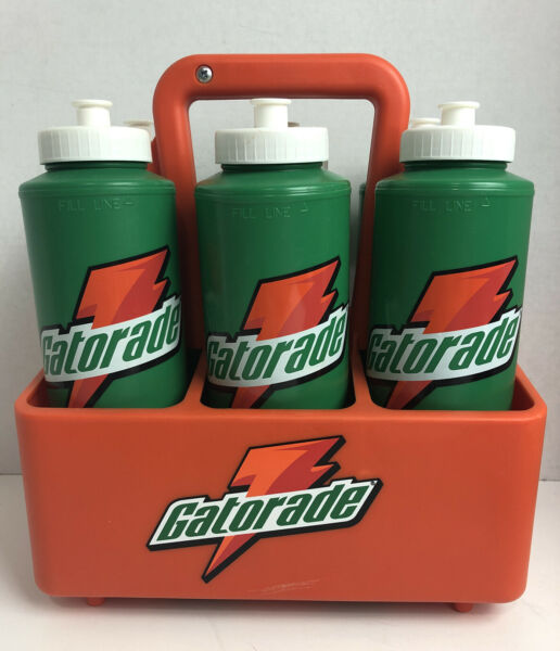 Lot Of 6 Vintage 90's Gatorade Water Bottles 32oz with Caddy Carrier Holder $54.99