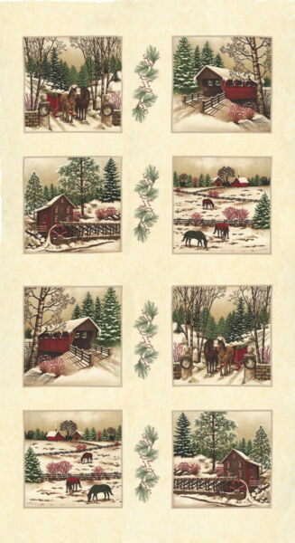 Christmas MODA Winter White 100% cotton fabric Panel aprox 24 x 44 Pearl 6810 19