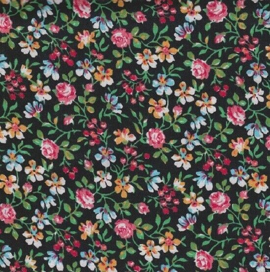 Lily Garden Country Flowers Calico 100% Cotton Fabric 14 yard 22.5 cm off bolt
