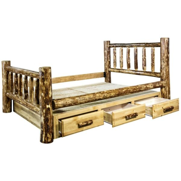 Rustic LOG Queen Storage Bed Dresser Night Stand Set Amish Made Lodge Furniture