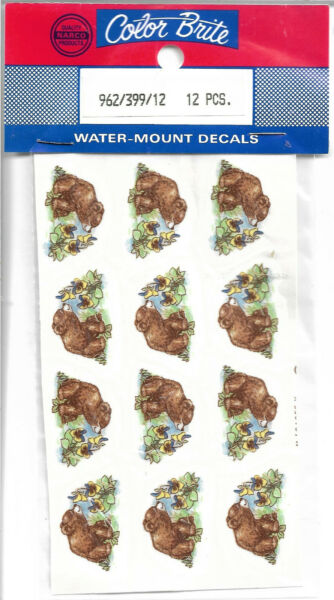 Color Brite Baby Bear Water Mount Decals Pkg or 12 $0.99