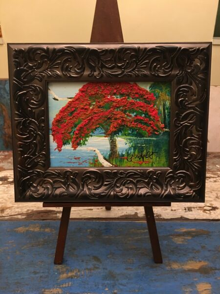 LISTED ARTIST ISSAC KNIGHT FLORIDA HIGHWAYMEN OIL PAINTING POINCIANA TREE 5x7 NR