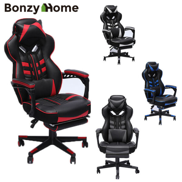 Upgraded Version Racing Gaming Chair Overstuffed Padded Computer Chairs Footrest $135.99