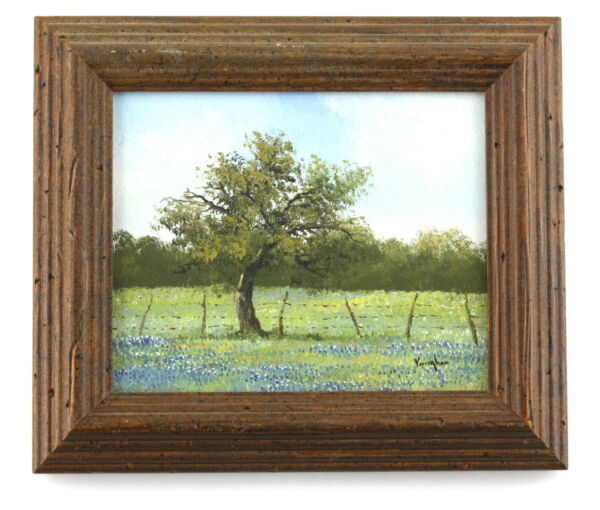 Ron Ronald Vaughan Listed Texas Artist Miniature Blue Bonnet Oil Painting