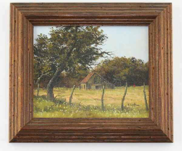 Ron Ronald Vaughan Listed Texas Artist Miniature Landscape Barn Oil Painting
