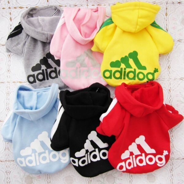 Adidog Small Dogs Puppy Apparel Hoodie Sweater T Shirt Jumpsuit Pet Hoodies $6.99