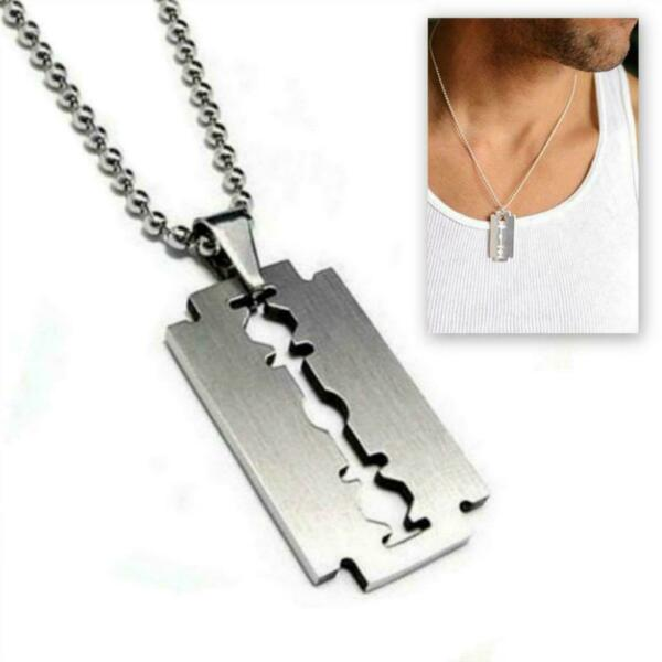 STAINLESS STEEL RAZOR BLADE PENDANT NECKLACE Chain Silver Charm Men Dog Tag