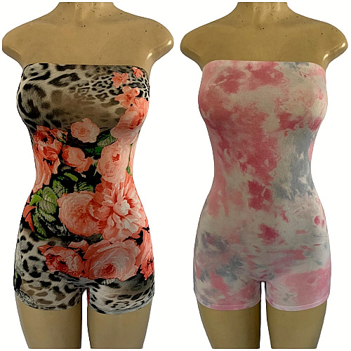 Women#x27;s Sexy Strapless Tube Bodycon Romper Shorts One Piece Jumpsuit Made In USA $14.99