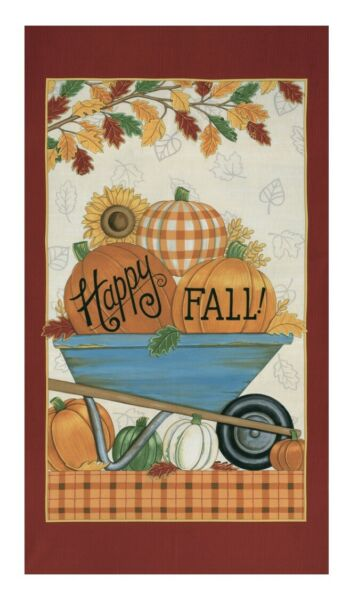 MODA Happy Fall 100% cotton fabric panel approx 24 x 44 19950 11 Pumpkins