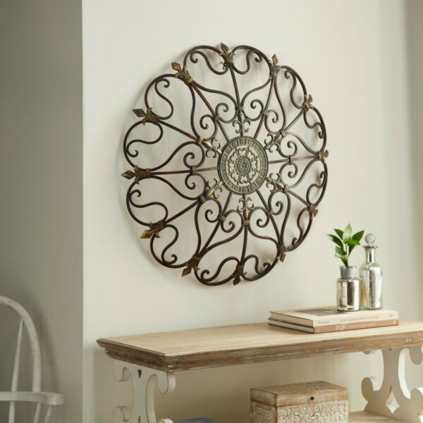 Outdoor Metal Wall Decor Indoor Large Rustic Antique Round Gold Iron Sculpture $97.00