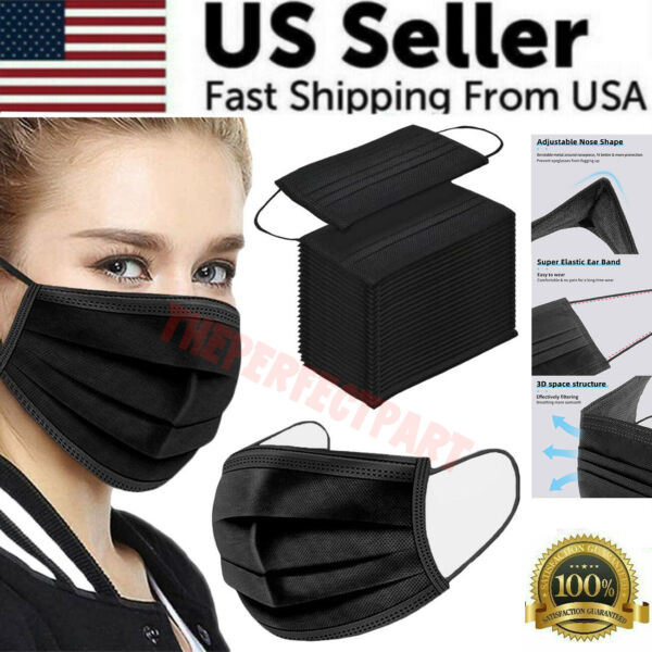 BLACK 50 PCS Face Mask Surgical Dental Disposable 3 Ply Earloop Mouth Cover USA $15.89
