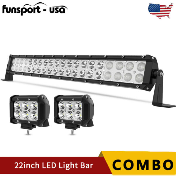 22INCH 120W LED Light Bar Spot Flood Combo Offroad 4inch 18W Pods Lights 24quot;