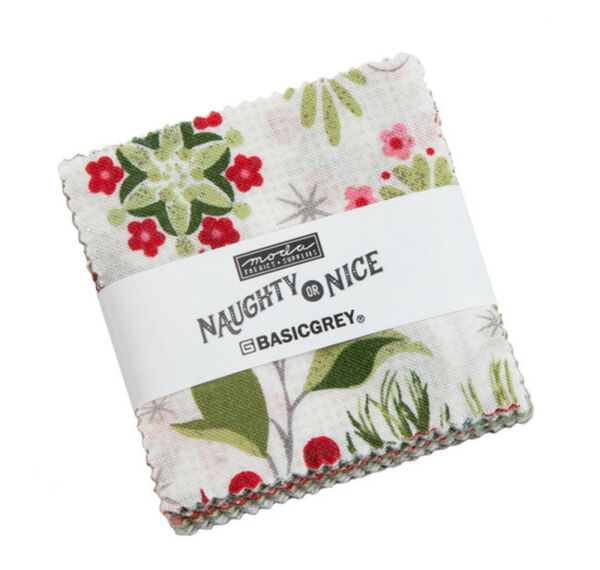 Naughty or Nice Moda Mini Charm Pack 42 100% Cotton 2.5quot; Precut Quilt Squares