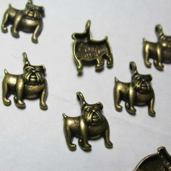 10 Bulldog Charms Dog Charms Boxer Dog Bronze Bulldog $1.49