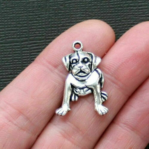 10 Dog Charms Antique Silver Tone $1.49