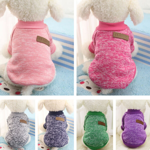 Cute Dog Winter Warm Sweater Small Pet Coat Clothes Puppy Cat Jacket Pink Black $6.99