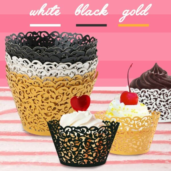 200x Cupcake Wrappers Bake Liners Cake Paper Filigree Vine Laser Baking Cups