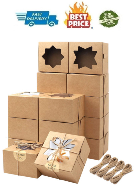 Moretoes 50pcs Brown Bakery Boxes with Window Cupcake Boxes 4x4x2.5 Inches Gift