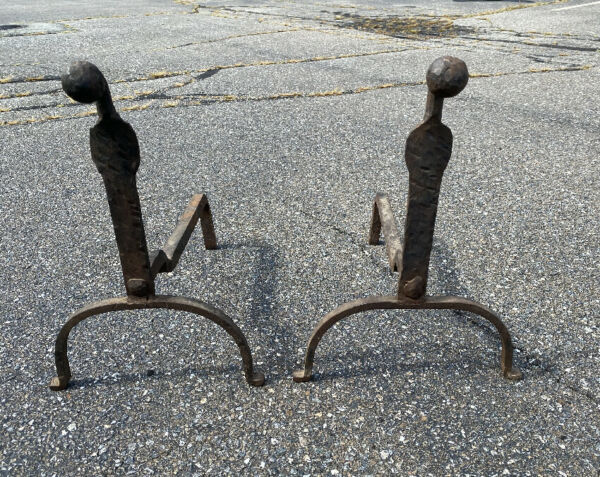 Pair hand wrought Yale University dorm gooseneck andirons c1900 18thc Colonial