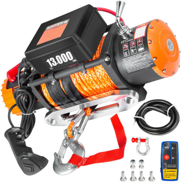 13000LBS Electric Winch 12V Synthetic Rope Off road ATV Truck Towing Trailer 4WD $262.97