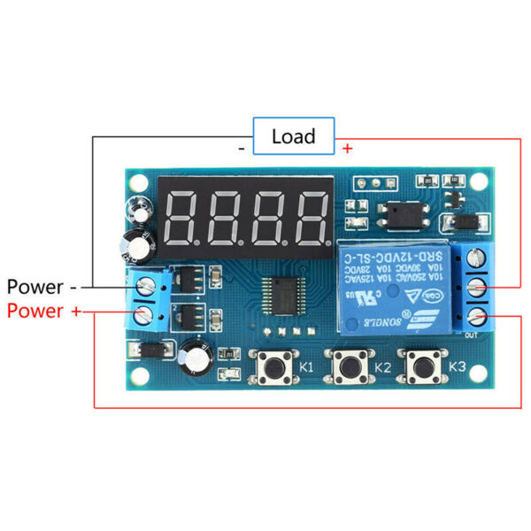 LED Delay Time Module Board Control Relay Cycle Timer DC 12V Button Delay Switch