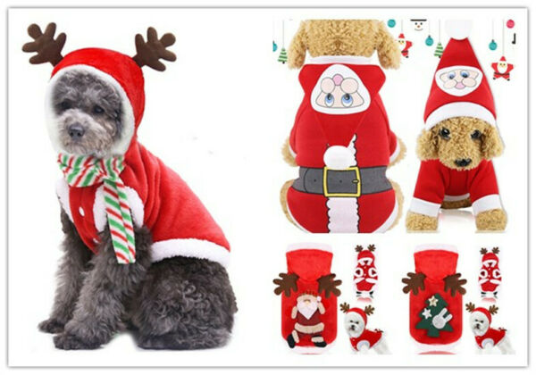 Christmas clothes dog cat clothes pet Costumes hooded small dogs warm apparel $9.58
