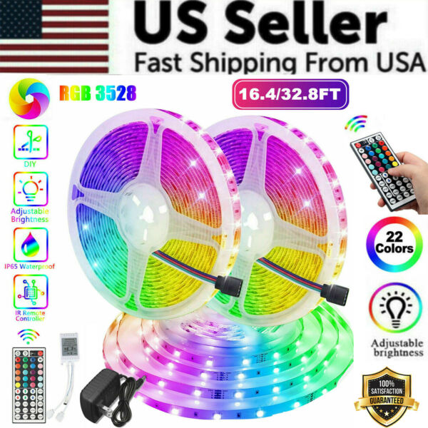 Waterproof 16FT 32FT Flexible 3528 RGB LED SMD Strip Light Remote Room Party 12V