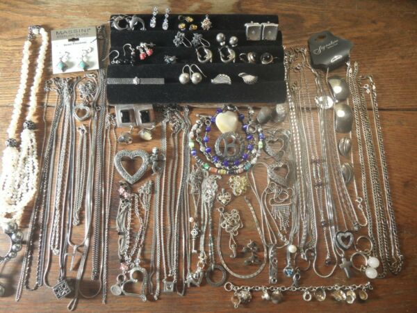 D5 Estate vintage sterling jewelry lot chains necklaces earrings... YOU PICK