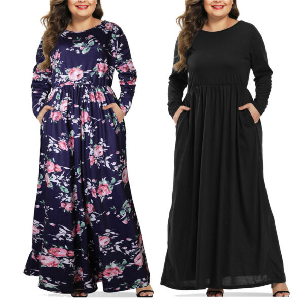 Womens Plus Size Floral Casual Party Long Maxi Dress Tunic T Shirt Pockets Dress