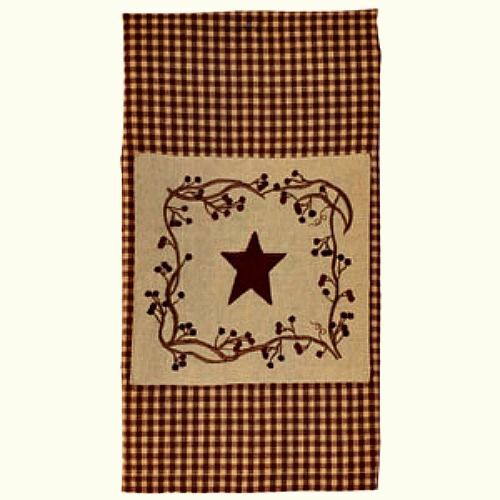 New Primitive Country STAR BERRY VINE HAND TOWEL Wine Burgundy Tan Checked $11.99