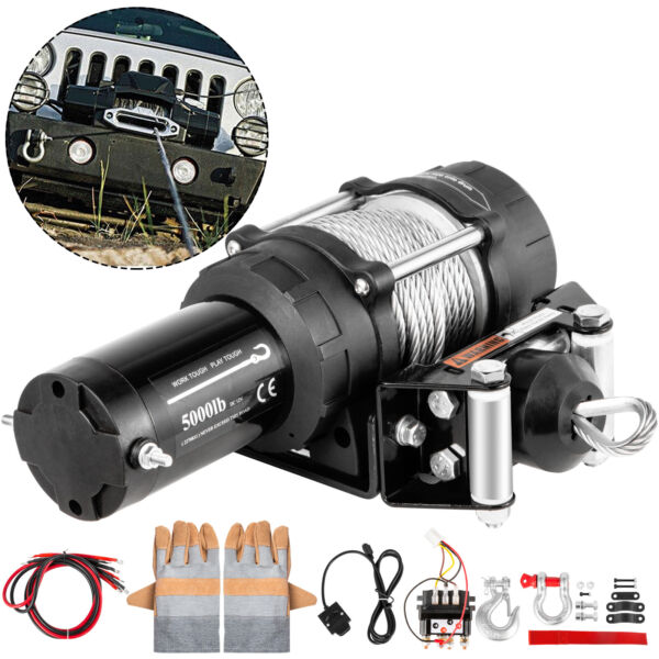 VEVOR Electric Winch 5000LBS 12V 13M Steel Cable Towing Truck ATV UTV Trailer $139.98