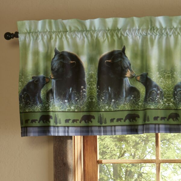 Black Bear Window Valance Decorative Animal Lodge Themed Curtain