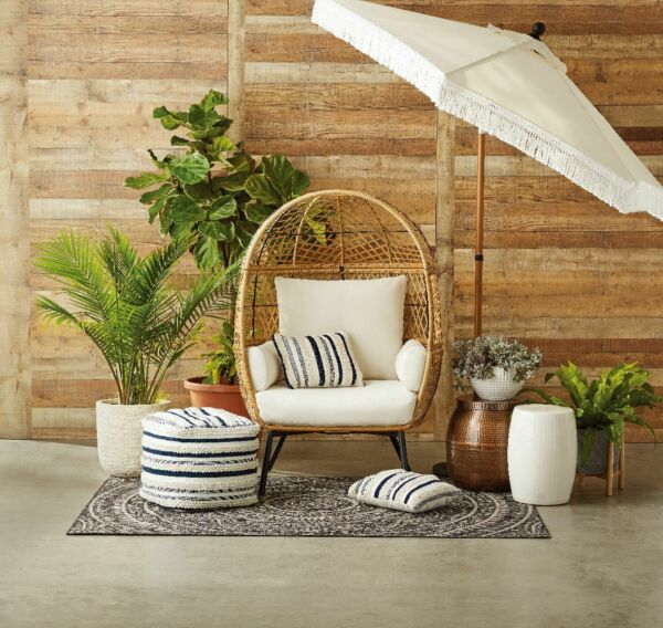 Patio Egg Chair Porch Wicker Egg Chair With Legs Large Outdoor Patio Chairs $417.88