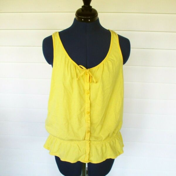 Women#x27;s Sonoma Tank Top Yellow Size Large Tie Front Faux Button Panel