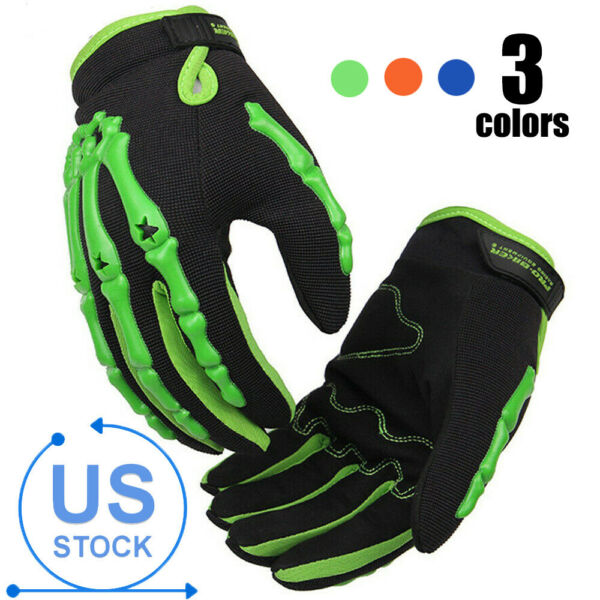 Skull Full Finger Gloves Racing Motorcycle Glove Cycling Bicycle MTB Bike Riding $14.39